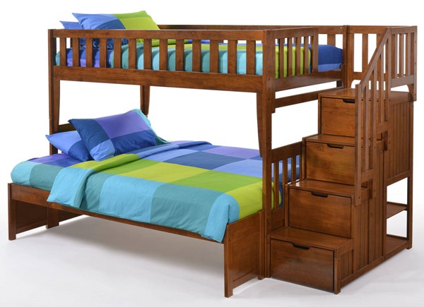 Night And Day Furniture Peppermint Cherry Twin Over Full Stair Bunk Bed NDF-PBB-PEP-T-F-CH-COM
