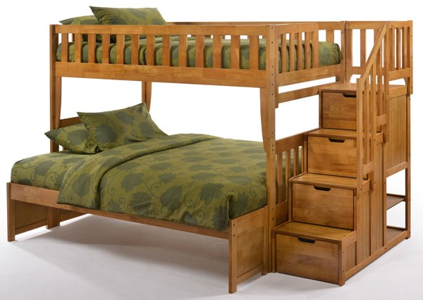 Night And Day Furniture Peppermint Medium Oak Twin Over Full Stair Bunk Bed NDF-PBB-PEP-T-F-MO-COM