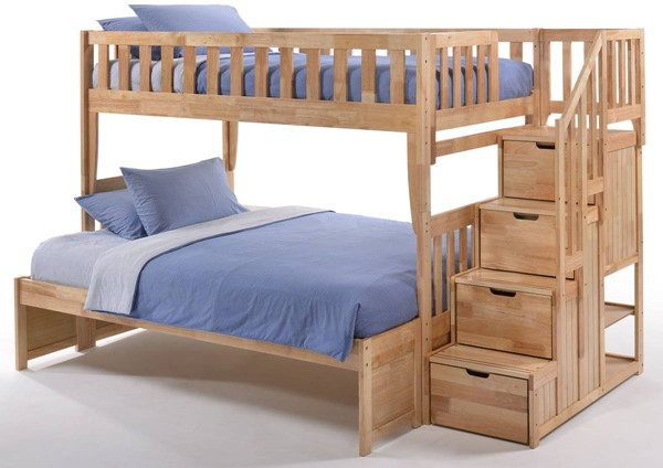 Night And Day Furniture Peppermint Natural Twin Over Full Stair Bunk Bed NDF-PBB-PEP-T-F-NA-COM