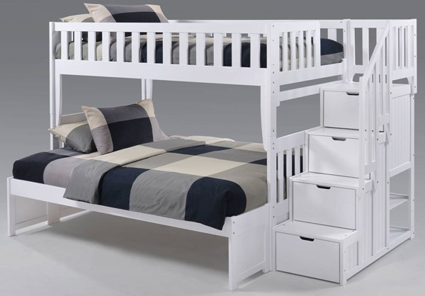 Night And Day Furniture Peppermint White Twin Over Full Stair Bunk Bed NDF-PBB-PEP-T-F-WH-COM