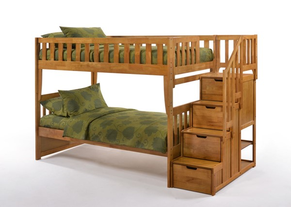 Night and Day Furniture Peppermint Medium Oak Twin Over Twin Stair Bunk Bed NDF-PBB-PEP-T-T-MO-COM
