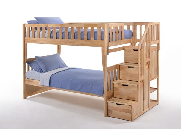 Night and Day Furniture Peppermint Natural Twin Over Twin Stair Bunk Bed NDF-PBB-PEP-T-T-NA-COM