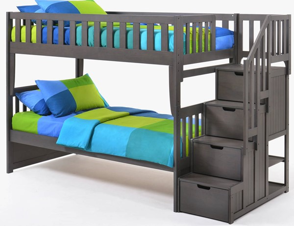 Night And Day Furniture Peppermint Stonewash Twin Twin Stair Bunk Bed NDF-PBB-PEP-T-T-STW-COM