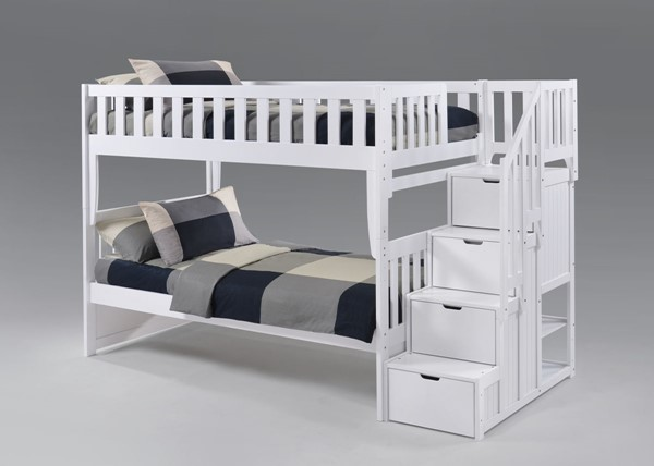 Night and Day Furniture Peppermint White Twin Over Twin Stair Bunk Bed NDF-PBB-PEP-T-T-WH-COM