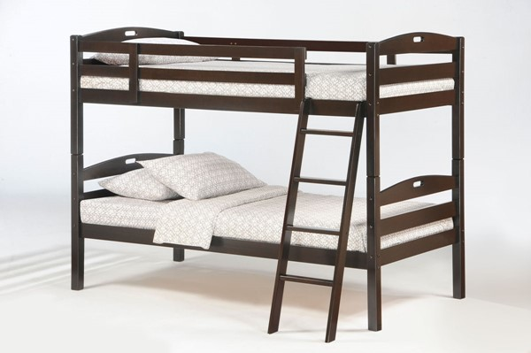 Night and Day Furniture Sesame Chocolate Twin Over Twin Bunk Bed NDF-PBB-SES-T-T-CHO-COM