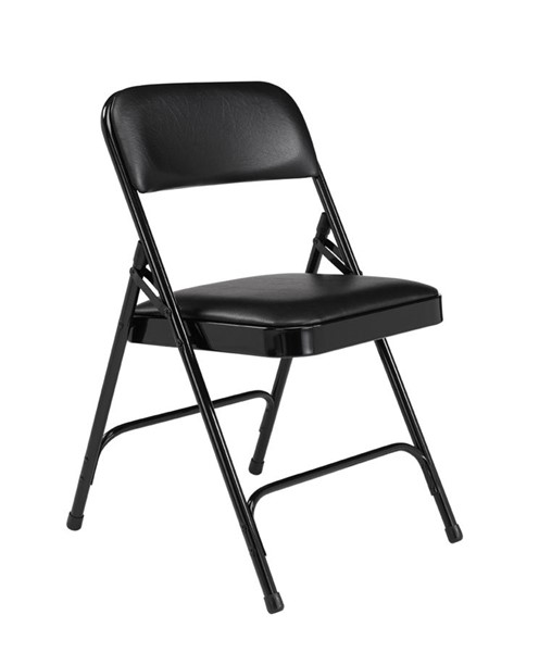 4 NPS 1200 Caviar Black Vinyl Folding Chairs NPS-1210