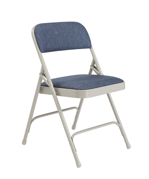 4 NPS 2200 Imperial Grey Blue Fabric Folding Chairs NPS-2205