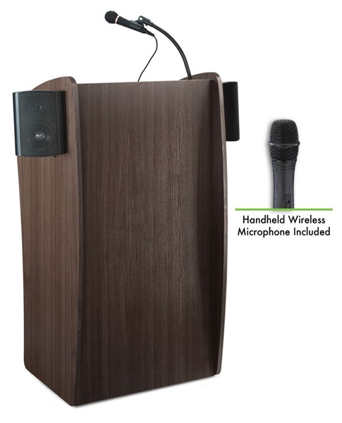 NPS Vision Ribbonwood Lectern with Sound and Wireless Handheld Mic NPS-611S-RW-LWM-5