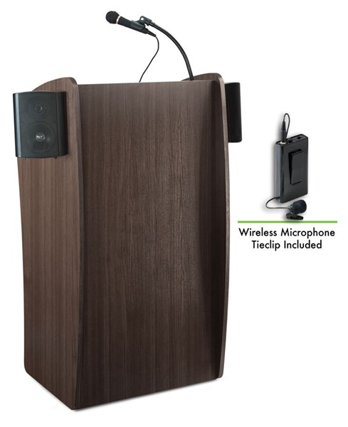 NPS Vision Ribbonwood Lectern with Sound and Wireless Tie Clip Lavalier Mic NPS-611S-RW-LWM-6