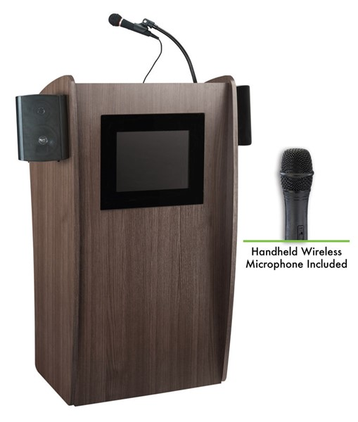 NPS Vision Ribbonwood Screen Lectern with Sound and Wireless Handheld Mic NPS-612S-RW-LWM-5