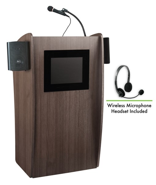 NPS Vision Ribbonwood Screen Lectern with Sound and Wireless Headset Mic NPS-612S-RW-LWM-7