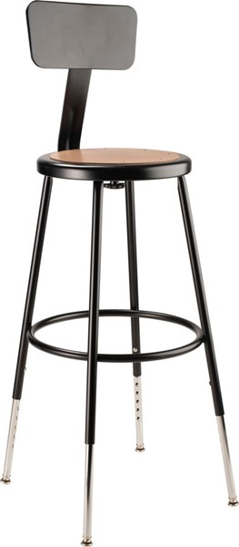 NPS 6200 Black Steel Adjustable Height Stool with Backrest NPS-6224HB-10
