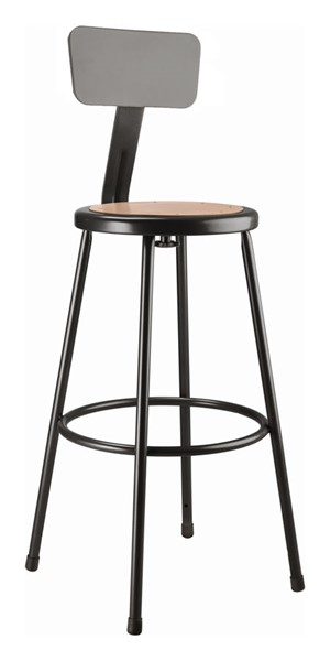 NPS 6200 Black 30 Inch Stool with Backrest NPS-6230B-10