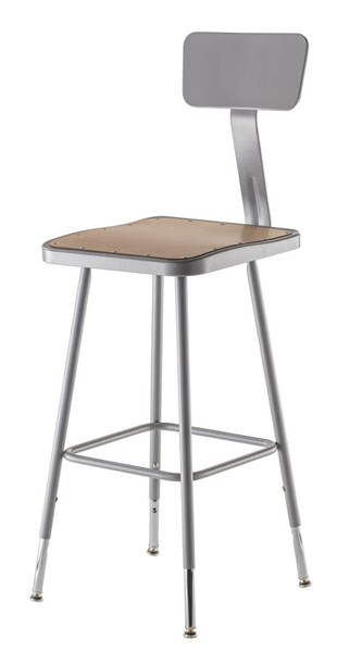NPS 6300 Grey 25 - 33 Inch Adjustable Height Stool with Backrest NPS-6324HB