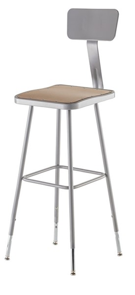 NPS 6300 Grey 32 - 39 Inch Adjustable Height Stool with Backrest NPS-6330HB