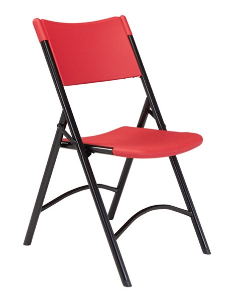 4 NPS 600 Red Black Resin Plastic Folding Chairs NPS-640