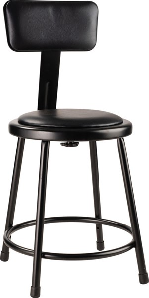 NPS 6400 Black Vinyl 18 Inch Stool with Backrest NPS-6418B-10