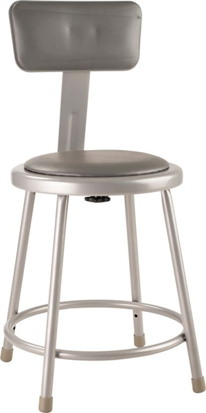 NPS 6400 Grey Vinyl 18 Inch Stool with Backrest NPS-6418B