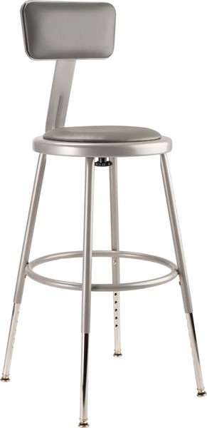 NPS 6400 Grey 19 - 27 Inch Adjustable Height Stool with Backrest NPS-6418HB