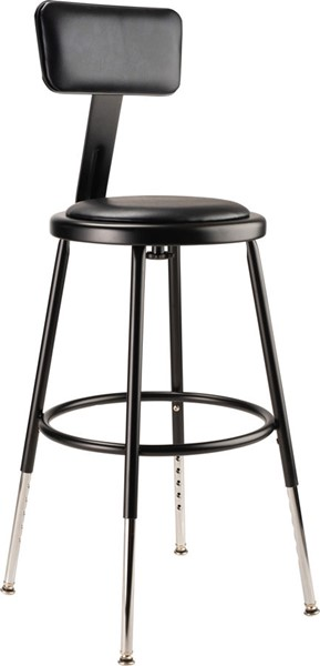 NPS 6400 Black 19 - 27 Inch Adjustable Height Stool with Backrest NPS-6418HB-10