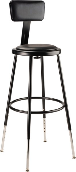NPS 6400 Black 25 - 33 Adjustable Height Stool with Backrest NPS-6424HB-10