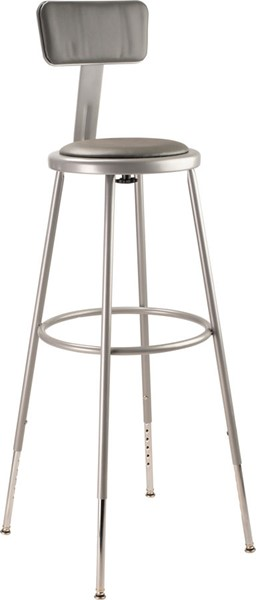 NPS 6400 Grey 32 - 39 Inch Adjustable Height Stool with Backrest NPS-6430HB