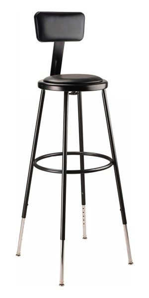 NPS 6400 Black 32 - 39 Inch Adjustable Height Stool with Backrest NPS-6430HB-10