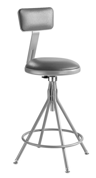 NPS 6500 Grey 24 - 30 Inch Adjustable Height Stool with Backrest NPS-6524HB