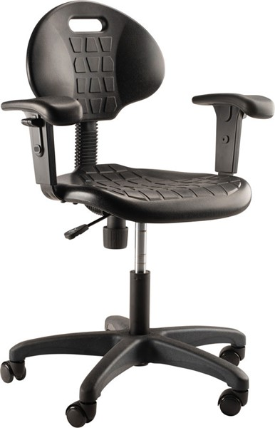 NPS 6700 Black 16 - 21 Inch Height Task Chair with Arms NPS-6716HB-A