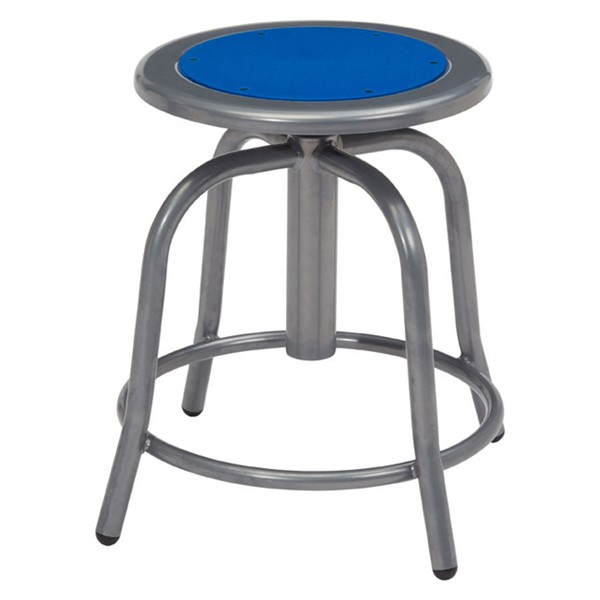 NPS 6800 Grey Persian Blue Wood Adjustable Height Swivel Stool NPS-6825-02
