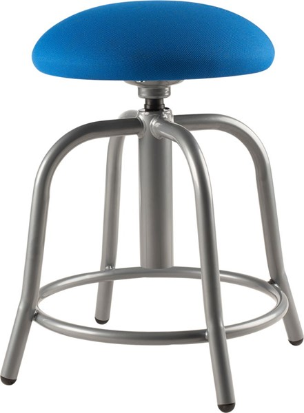 NPS 6800 Grey Cobalt Blue Fabric Adjustable Designer Stool NPS-6825S-02