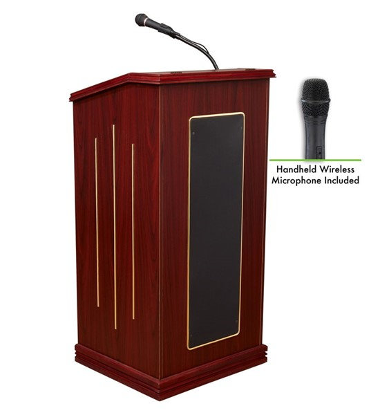 NPS Prestige Mahogany Oklahoma Sound Lectern with Wireless Handheld Mic NPS-711-MY-LWM-5