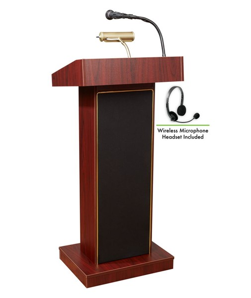 NPS Orator Mahogany Oklahoma Sound Lectern with Wireless Headset Mic NPS-800X-MY-LWM-7