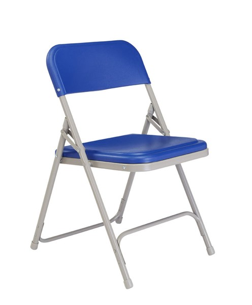 4 NPS 800 Blue Grey Plastic Metal Folding Chairs NPS-805