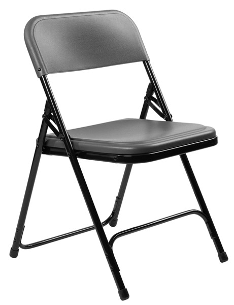 4 NPS 800 Charcoal Black Plastic Metal Folding Chairs NPS-820