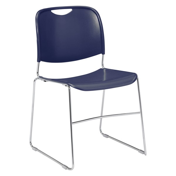 NPS 8500 Chorme Navy Blue Plastic Ultra Compact Stack Chair NPS-8505