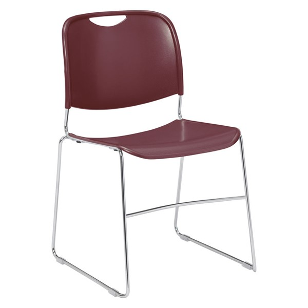 NPS 8500 Chrome Wine Plastic Ultra Compact Stack Chair NPS-8508