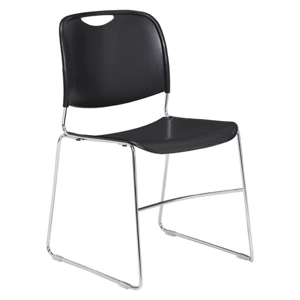 NPS 8500 Chrome Black Plastic Ultra Compact Stack Chair NPS-8510