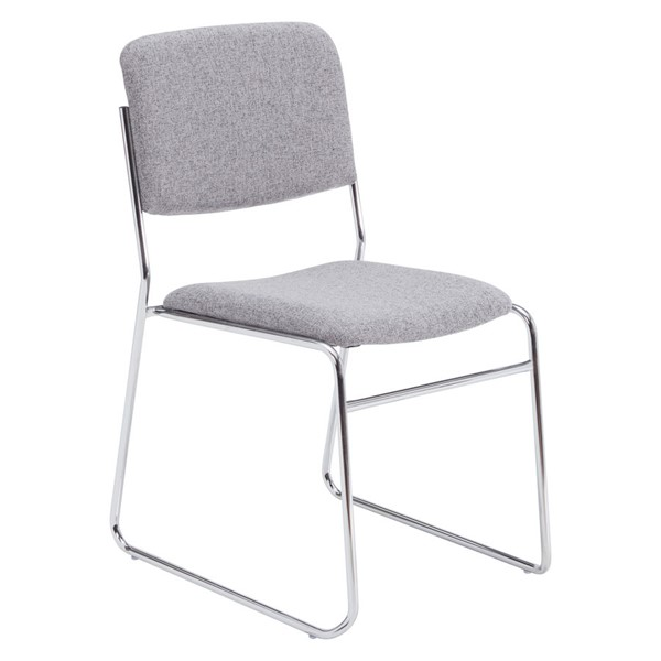 NPS 8600 Chrome Grey Fabric Signature Stack Chair NPS-8652