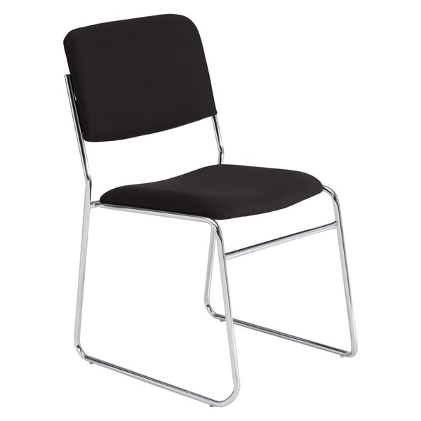 NPS 8600 Chrome Black Fabric Signature Stack Chair NPS-8660