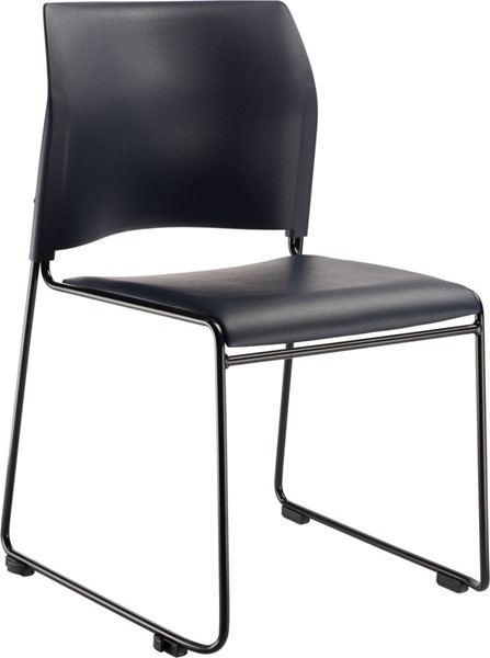 NPS 8700 Black Blue Vinyl Cafetorium Plush Stack Chair NPS-8704-10-04