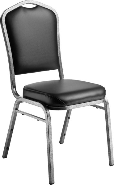 NPS 9300 Silvervein Black Vinyl Stack Chair NPS-9310-SV