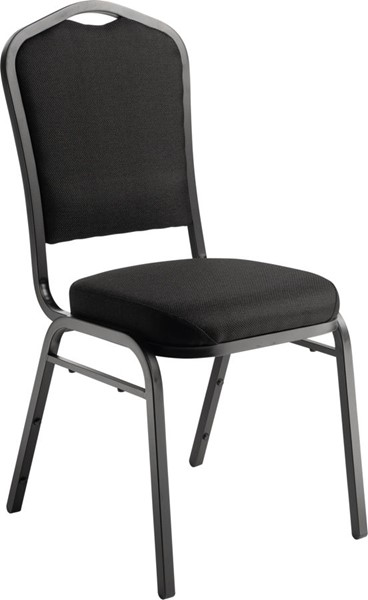 NPS 9300 Sandtex Ebony Black Fabric Stack Chair NPS-9360-BT