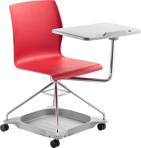 NPS Go Chrome Red Polypropylene Mobile Tablet Chair NPS-COGO-40