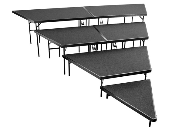 NPS Black 48 Inch 4 Tier Seated Riser Stage Pie Sections NPS-SPST48C-SP4832C-10