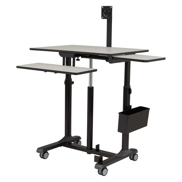 NPS Sit Stand Black Grey Metal Teachers Desk NPS-EDTCP