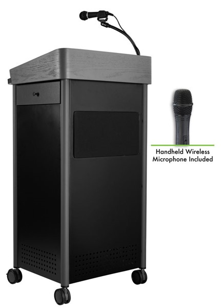 NPS GSL Charcoal Greystone Lectern with Sound and Wireless Handheld Mic NPS-GSL-S-LWM-5