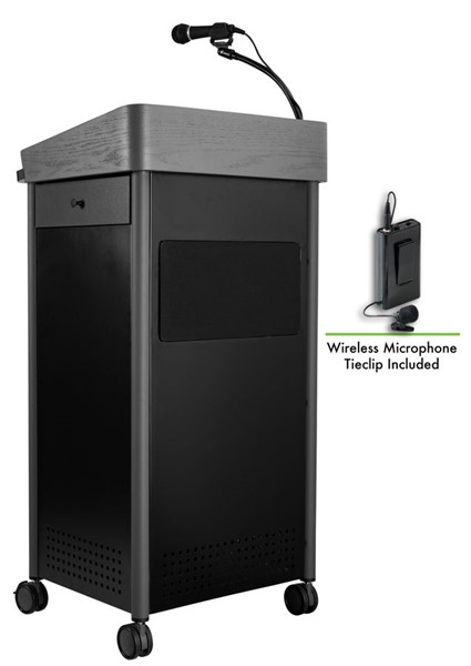 NPS GSL Charcoal Lectern with Sound and Wireless Tie Clip Lavalier Mic NPS-GSL-S-LWM-6