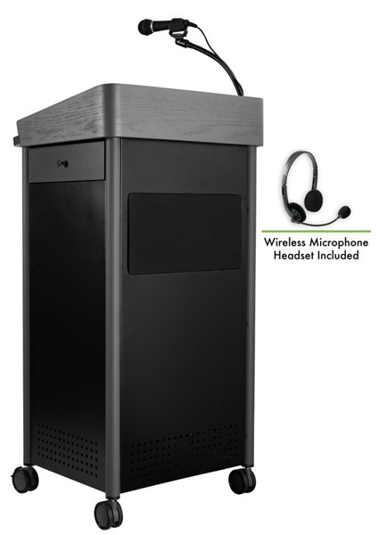 NPS GSL Charcoal Greystone Lectern with Sound and Wireless Headset Mic NPS-GSL-S-LWM-7