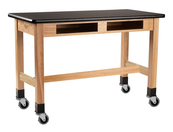 NPS Ash Black HPL Top Lab Table with Compartment and Casters - 24x72x30 NPS-SLT1-2472HBC